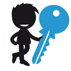 Schwarzes Männchen mit Schlüssel